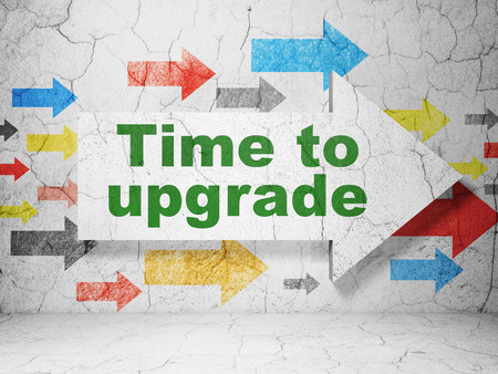 urban planning: Time concept:  arrow with Time To Upgrade on grunge textured concrete wall background, 3D rendering