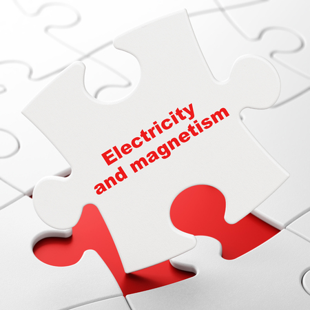 magnetismo: Science concept: Electricity And Magnetism on White puzzle pieces background, 3D rendering Foto de archivo