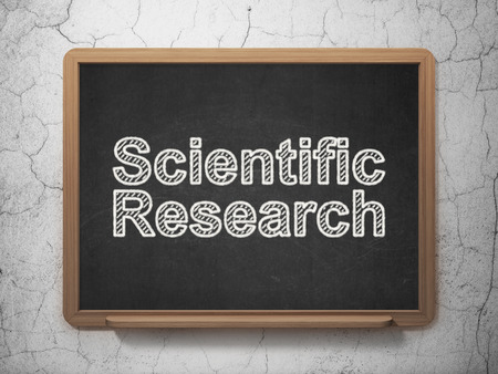 science scientific: Science concept: text Scientific Research on Black chalkboard on grunge wall background, 3D rendering