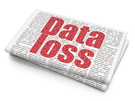 data loss: Data concept: Pixelated red text Data Loss on Newspaper background, 3D rendering