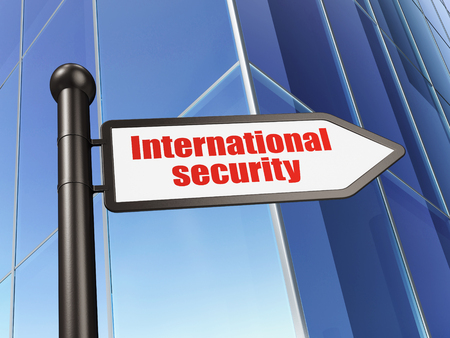 international security: Protection concept: sign International Security on Building background, 3D rendering