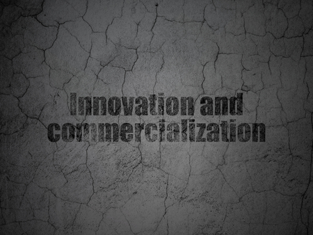 commercialization: Science concept: Black Innovation And Commercialization on grunge textured concrete wall background