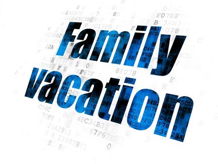pixelated: Vacation concept: Pixelated blue text Family Vacation on Digital background