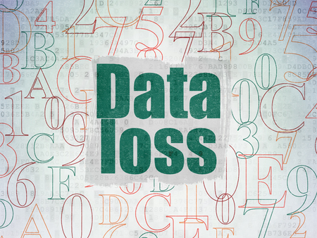 data loss: Data concept: Painted green text Data Loss on Digital Data Paper background with   Hexadecimal Code