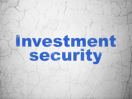 investment security: Security concept: Blue Investment Security on textured concrete wall background Stock Photo