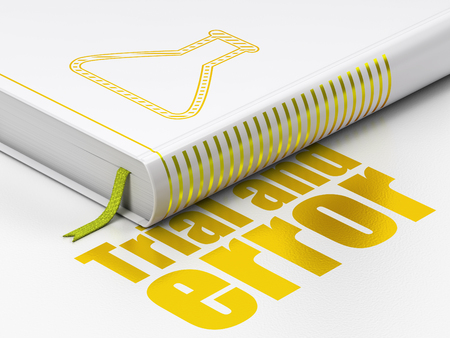 Science concept: closed book with Gold Flask icon and text Trial And Error on floor, white background, 3D rendering