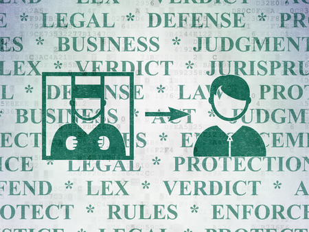 freed: Law concept: Painted green Criminal Freed icon on Digital Data Paper background with  Tag Cloud