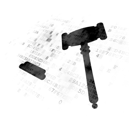Concepto de ley: icono de martillo negro pixelado en fondo digital