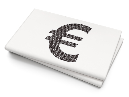 Currency concept: Pixelated black Euro icon on Blank Newspaper background, 3D rendering