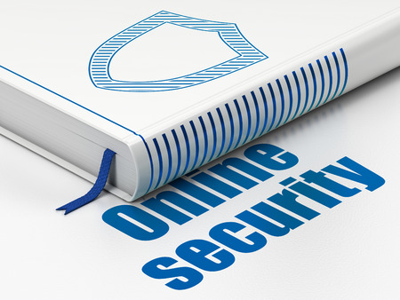 Security concept: closed book with Blue Contoured Shield icon and text Online Security on floor, white background, 3D rendering