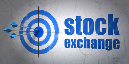 hitting a wall: Success finance concept: arrows hitting the center of target, Blue Stock Exchange on wall background, 3D rendering Stock Photo