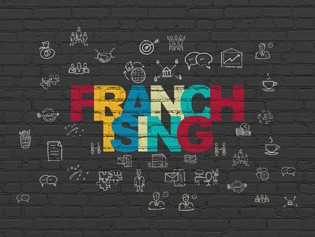 franchising: Business concept: Painted multicolor text Franchising on Black Brick wall background with  Hand Drawn Business Icons