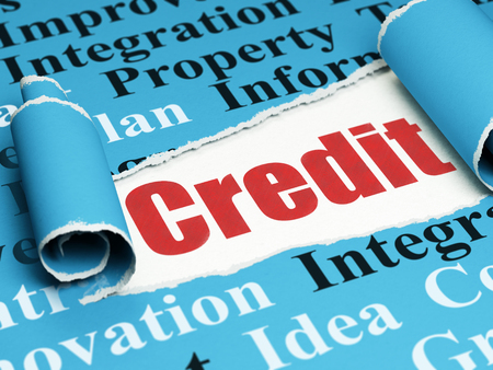 Business concept: red text Credit under the curled piece of Blue torn paper with  Tag Cloud, 3D rendering Stock Photo