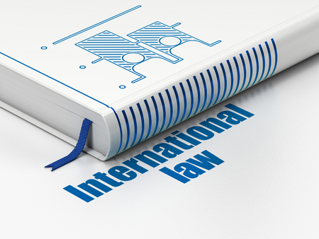 international law: Politics concept: closed book with Blue Election icon and text International Law on floor, white background, 3D rendering Stock Photo