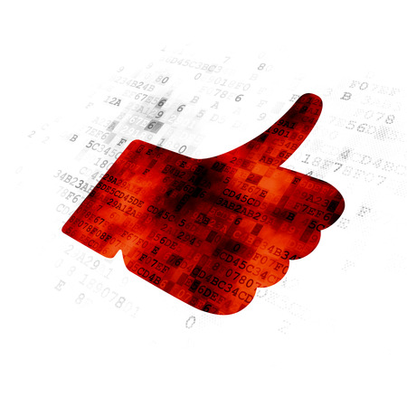 Social media concept: Pixelated red Thumb Up icon on Digital background Stock Photo