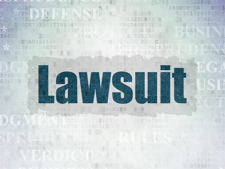 data protection act: Law concept: Painted blue text Lawsuit on Digital Data Paper background with   Tag Cloud