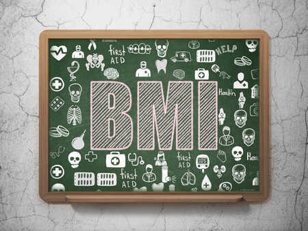 BMI: Healthcare concept: Chalk Pink text BMI on School board background with  Hand Drawn Medicine Icons, 3D Rendering
