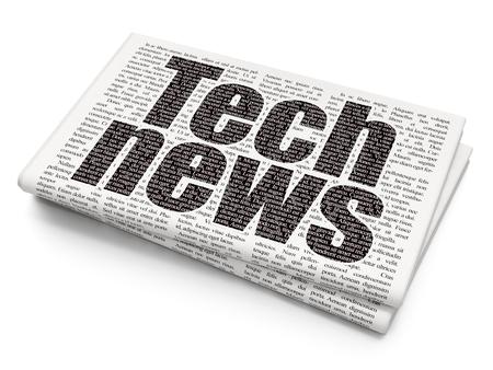 newsprint: News concept: Pixelated black text Tech News on Newspaper background, 3D rendering
