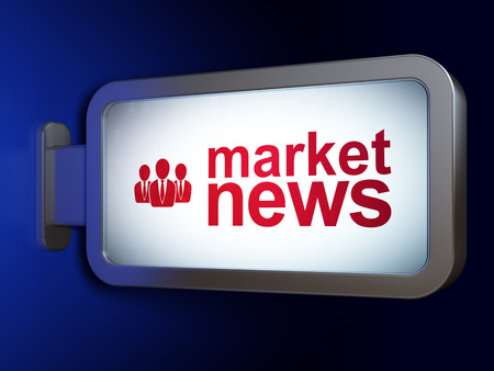 newsprint: News concept: Market News and Business People on advertising billboard background, 3D rendering