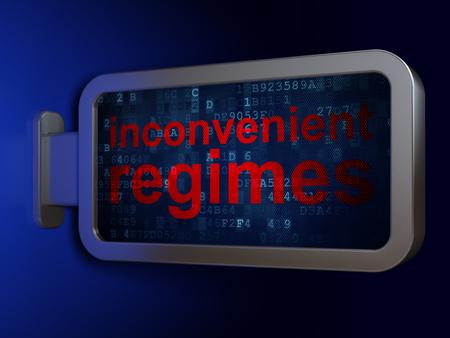 regimes: Politics concept: Inconvenient Regimes on advertising billboard background, 3D rendering