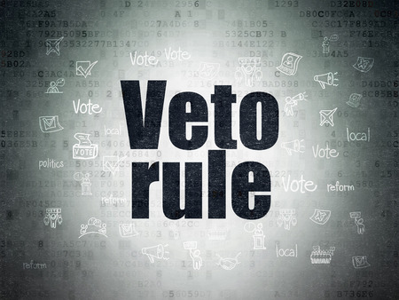 veto: Political concept: Painted black text Veto Rule on Digital Data Paper background with  Hand Drawn Politics Icons