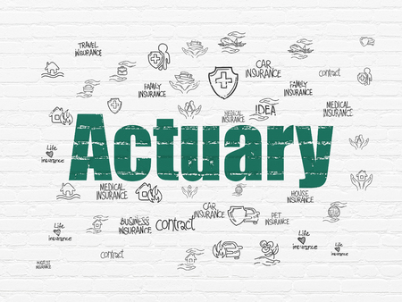actuary: Insurance concept: Painted green text Actuary on White Brick wall background with  Hand Drawn Insurance Icons Stock Photo