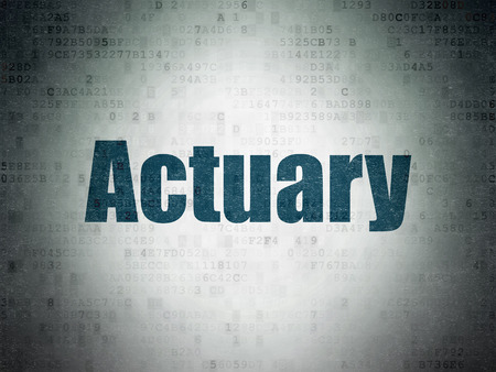 actuary: Insurance concept: Painted blue word Actuary on Digital Data Paper background
