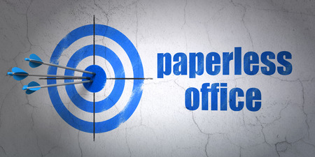 hitting a wall: Success finance concept: arrows hitting the center of target, Blue Paperless Office on wall background, 3D rendering