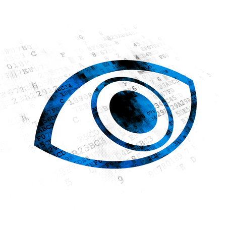 Protection concept: Pixelated blue Eye icon on Digital background