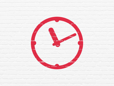 cronologia: Timeline concept: Painted red Clock icon on White Brick wall background