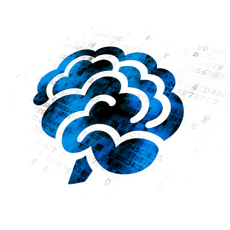 Science concept: Pixelated blue Brain icon on Digital background