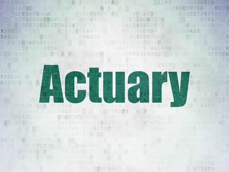 actuary: Insurance concept: Painted green word Actuary on Digital Data Paper background Stock Photo
