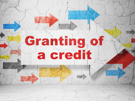 granting: Money concept:  arrow with Granting of A credit on grunge textured concrete wall background, 3D rendering