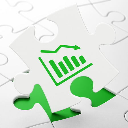 Business concept: Decline Graph on White puzzle pieces background, 3D rendering