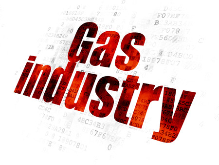 pixelated: Manufacuring concept: Pixelated red text Gas Industry on Digital background