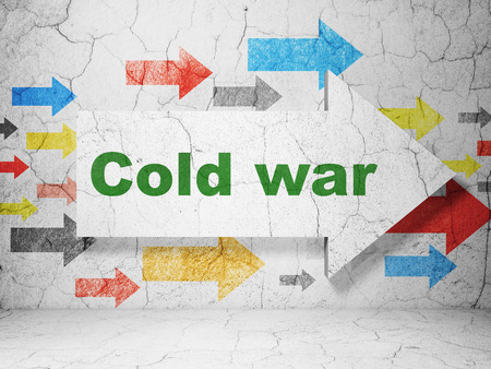 cold war: Political concept:  arrow with Cold War on grunge textured concrete wall background, 3D rendering