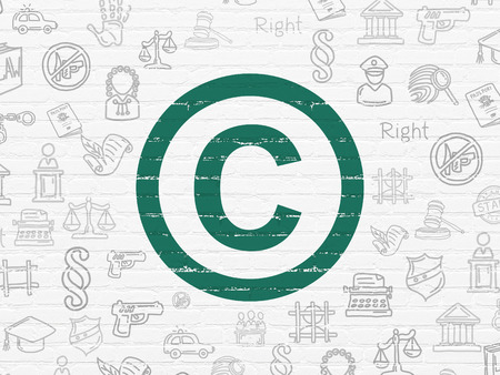 Law concept: Painted green Copyright icon on White Brick wall background with  Hand Drawn Law Icons