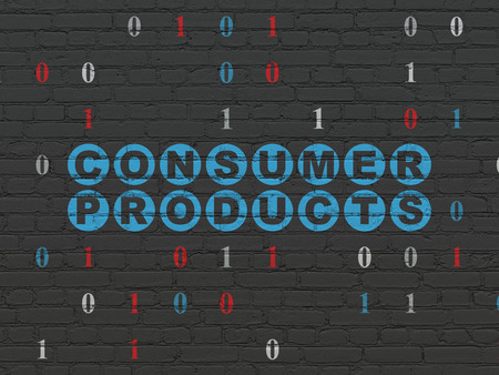 consumer products: Business concept: Painted blue text Consumer Products on Black Brick wall background with Binary Code