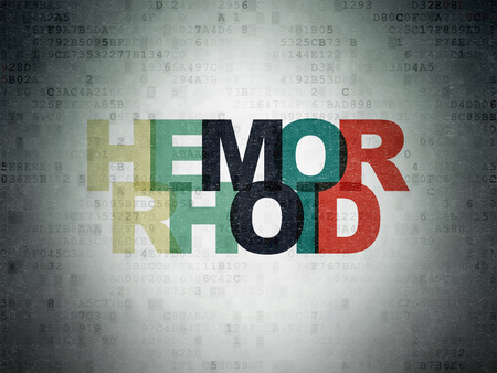 hemorrhoid: Healthcare concept: Painted multicolor text Hemorrhoid on Digital Data Paper background Stock Photo