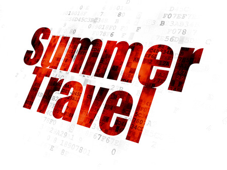 pixelated: Vacation concept: Pixelated red text Summer Travel on Digital background Stock Photo