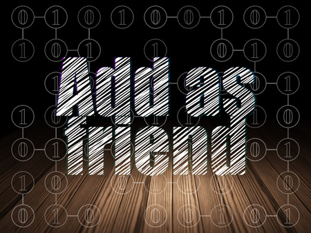 add as friend: Social media concept: Glowing text Add as Friend in grunge dark room with Wooden Floor, black background with Scheme Of Binary Code