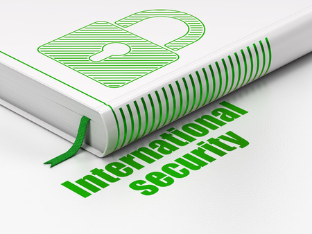 international security: Security concept: closed book with Green Closed Padlock icon and text International Security on floor, white background, 3D rendering