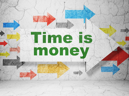 urban planning: Time concept:  arrow with Time is Money on grunge textured concrete wall background, 3D rendering Stock Photo