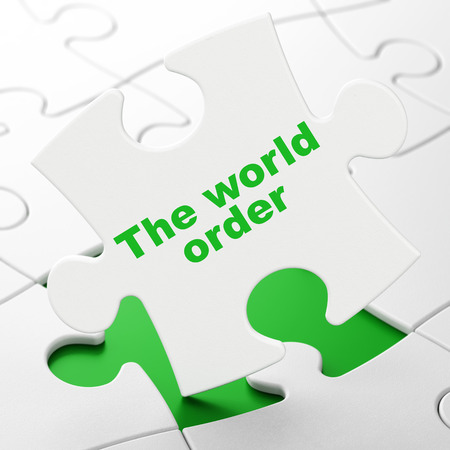 Politics concept: The World Order on White puzzle pieces background, 3D rendering