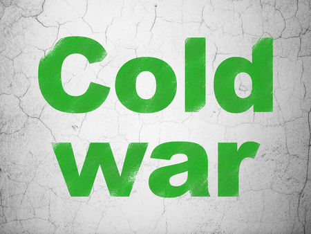 cold war: Politics concept: Green Cold War on textured concrete wall background Stock Photo