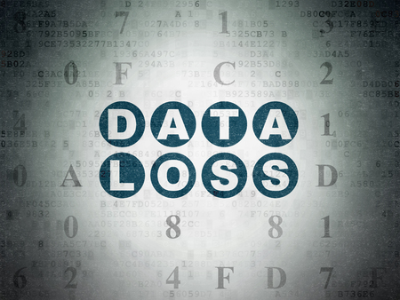 data loss: Data concept: Painted blue text Data Loss on Digital Data Paper background with Hexadecimal Code