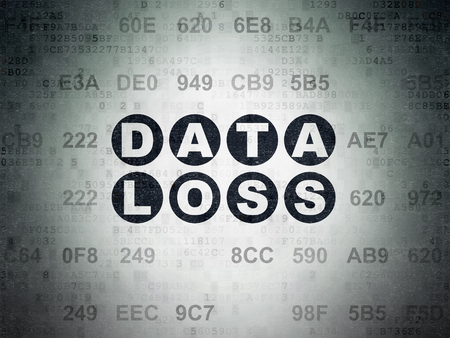 data loss: Data concept: Painted black text Data Loss on Digital Data Paper background with Hexadecimal Code