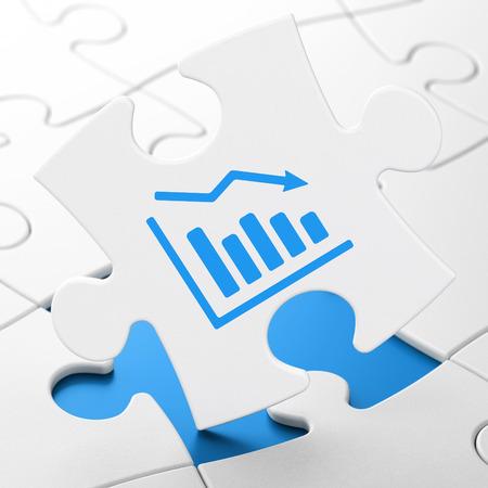 Finance concept: Decline Graph on White puzzle pieces background, 3D rendering
