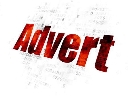 Advertising concept: Pixelated red text Advert on Digital background