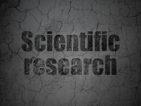 science scientific: Science concept: Black Scientific Research on grunge textured concrete wall background